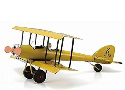 Metal Airplane Yellow British WW1 Avro 621 Tutor Bi-Plane